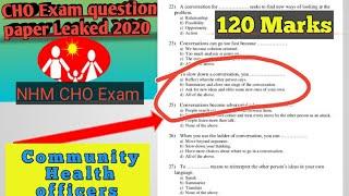 NHM CHO exam question paper 2020 easy format   Community health officer exam MCQs 2020