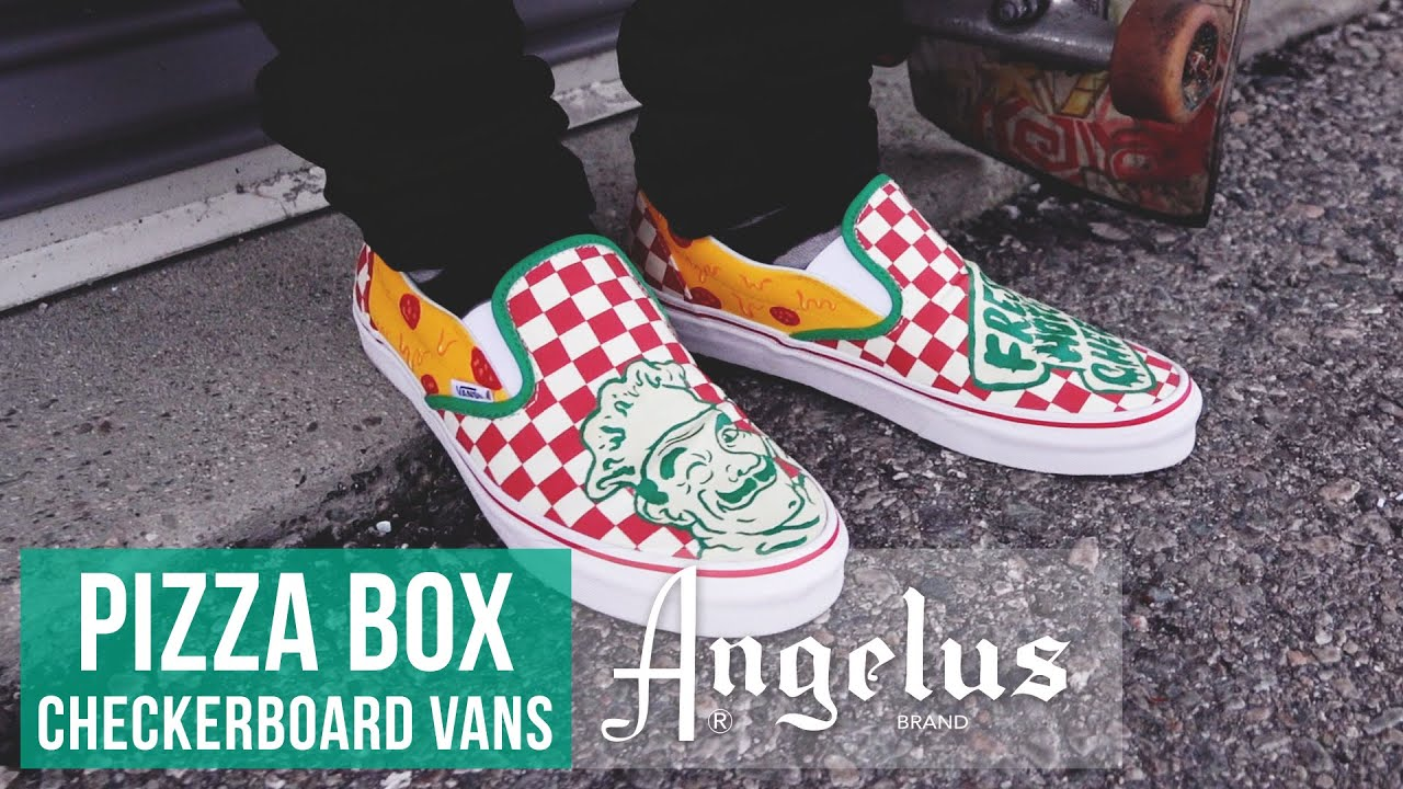 f5b22163da662 Custom Pizza Box Checkerboard Vans | Custom Shoes | Angelus Paint