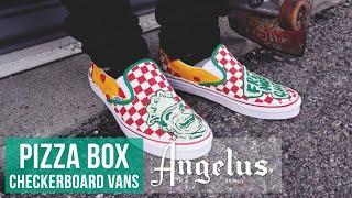 Custom Pizza Box Checkerboard Vans | Custom Shoes | Angelus Paint