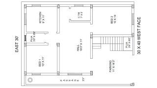 29 × 39 west face house plan map naksha