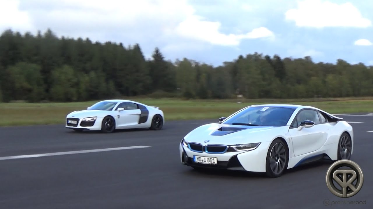 drag race bmw i8 vs audi r8 v8 youtube. Black Bedroom Furniture Sets. Home Design Ideas