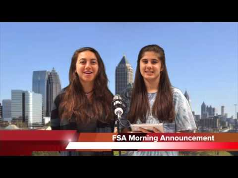 Fulton Science Academy Private School Morning Announcement Wednesday May 4 2016