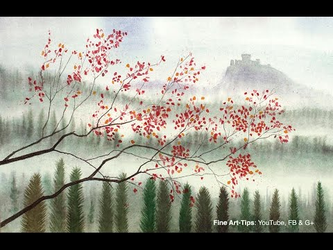 How to Paint a Landscape in Watercolor - Hills, trees and a castle