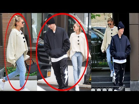 Justin Bieber and Hailey Baldwin bundle up in large sweaters as they step out for lunch together