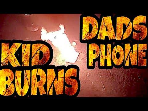KID BURNS DAD'S PHONE!!!