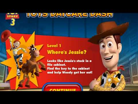 Toy Story 3's Toys Daycare Dash Walkthrough ~ Level 1: Where's Jessie (ALL Collectibles)