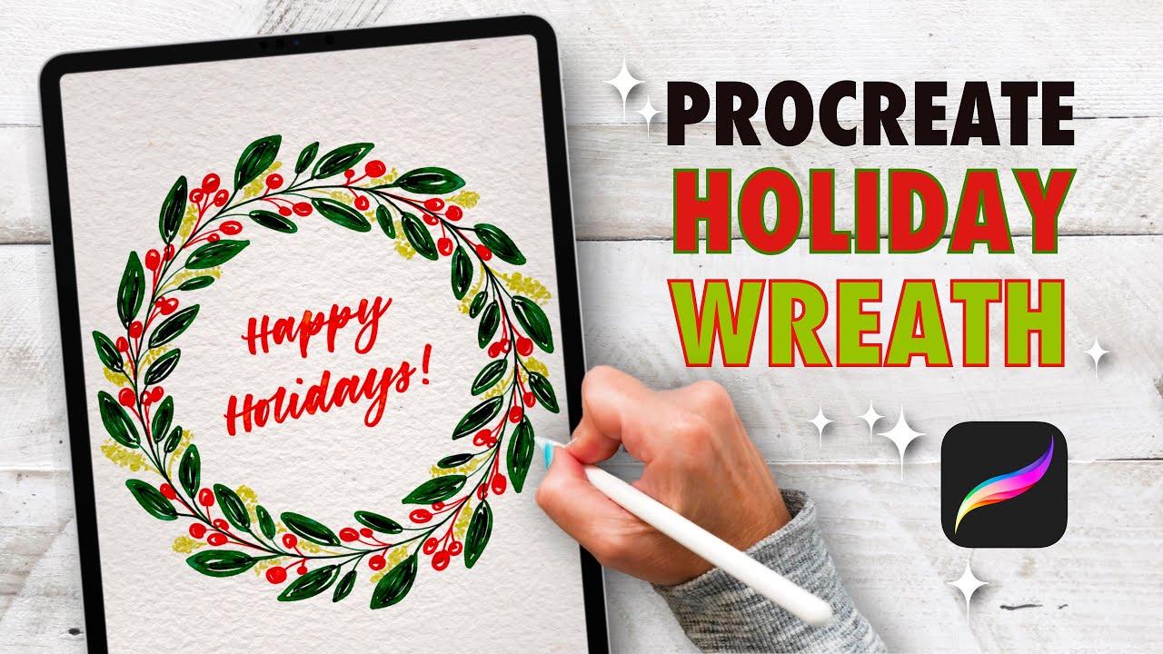 Fun Procreate Holiday Wreath! #shorts