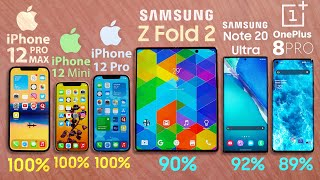 iPhone 12 Pro Max vs Note 20 Ultra / Z Fold 2 / 12 Mini / OnePlus 8 Pro - Battery Drain Test