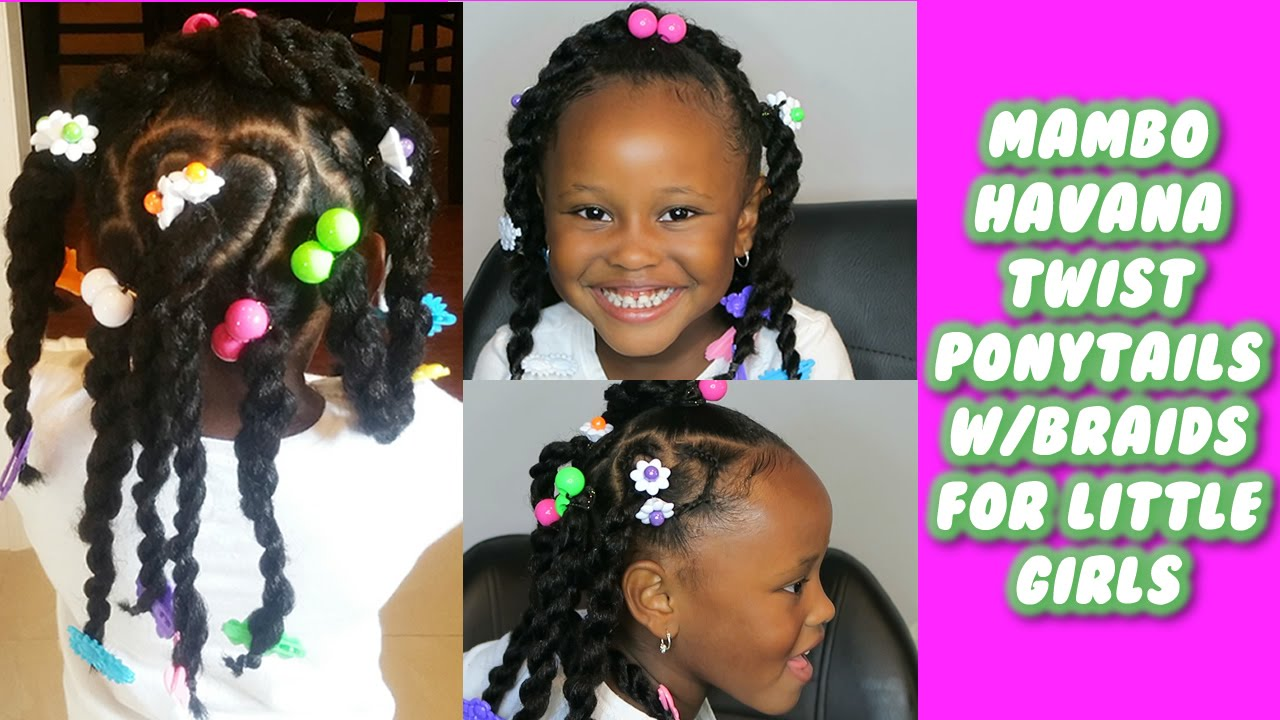 Mambo Havana Twist Ponytails With Braids For Little Girls Youtube