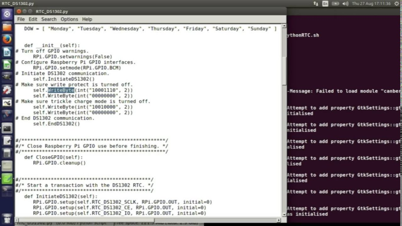 Real Time Clock Python Source Code