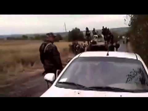 Russian mercenaries with armor BTR 80A arrive to Snizhne city Donetsk region