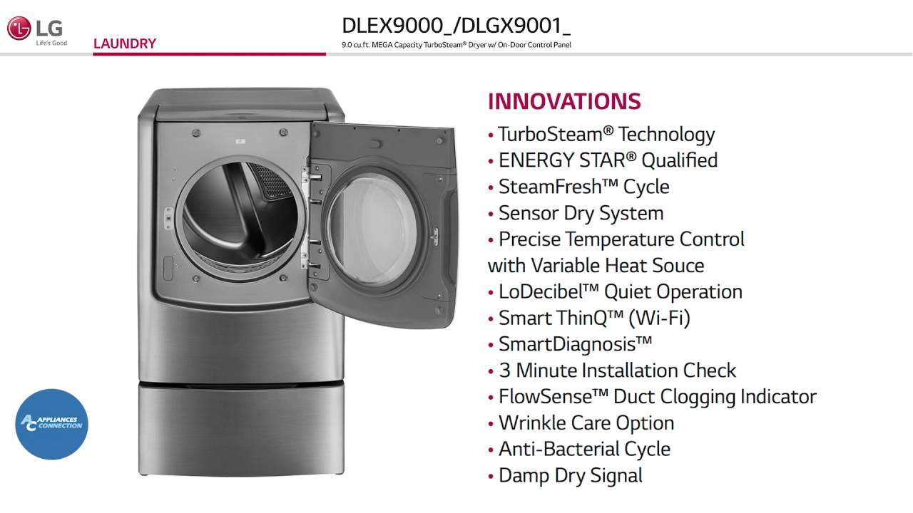 LG DLEX9000W Twin Wash Series 29 Inch Electric Dryer with 9 cu  ft  Capacity