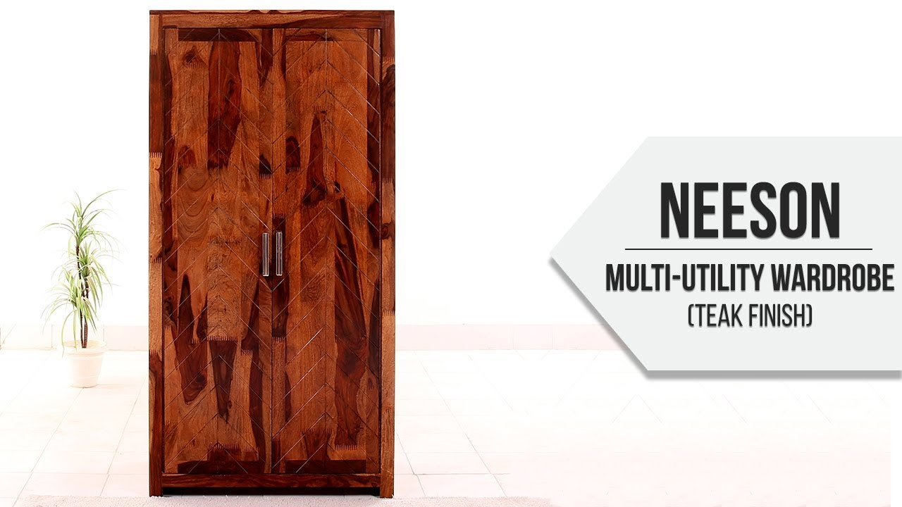 Neeson Multi Utility Wardrobe  Teak Finish    YouTube Neeson Multi Utility Wardrobe  Teak Finish