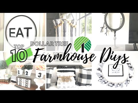 TOP 10 DOLLAR TREE DIYS | DOLLAR TREE FARMHOUSE HOME DECOR CRAFT IDEAS 2020