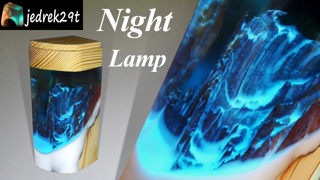 Night Lamp With Resin And Wood