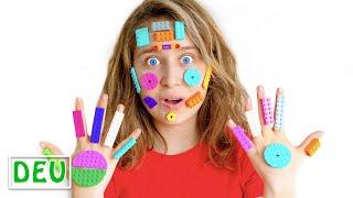 Tinas Gesicht mit Legos bedeckt | Kindergeschichte über Lego