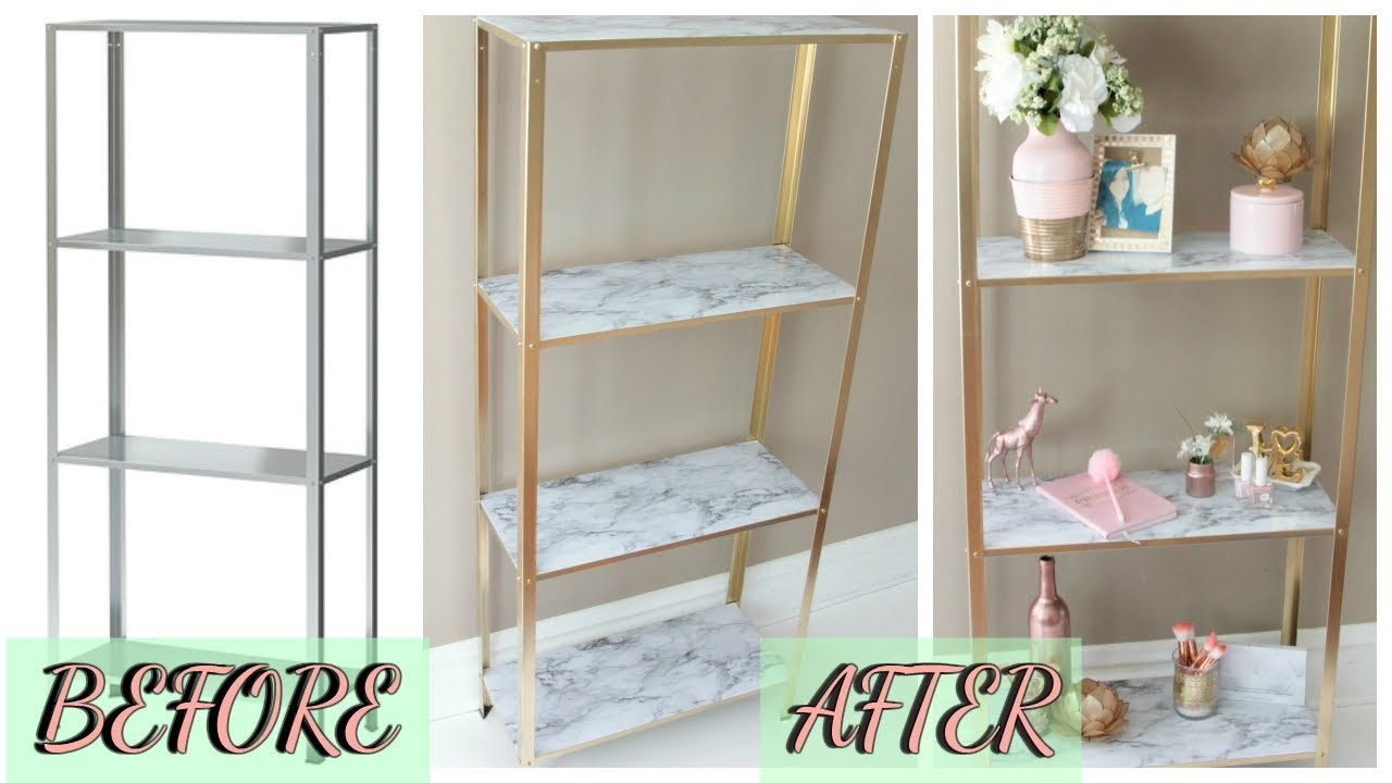 Diy Ikea easy diy marble and gold shelf ikea hack