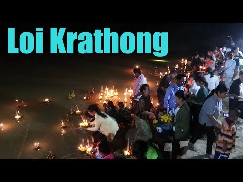 Loi Krathong in a small village ubon thailand