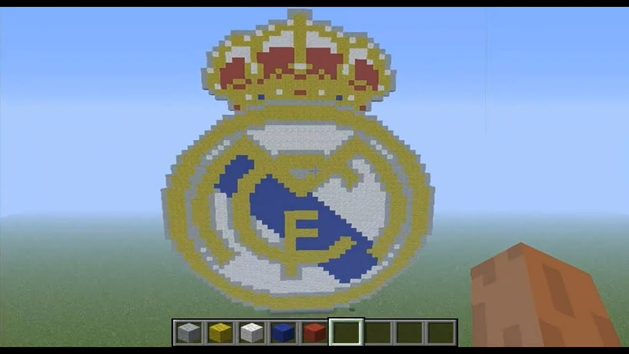Pixel Art en minecraft - Escudo del Real Madrid - HD - YouTube
