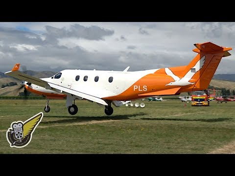 Pilatus PC12 Taking Off and Landing on Grass Field