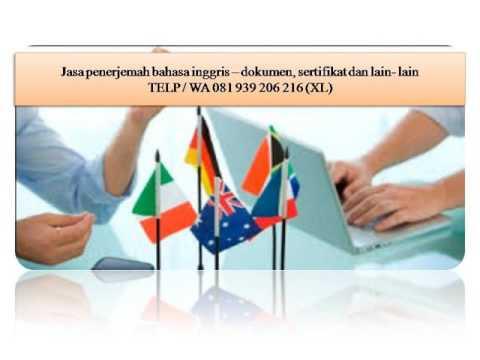 081 939 206 216 (XL) certified translator indonesia english