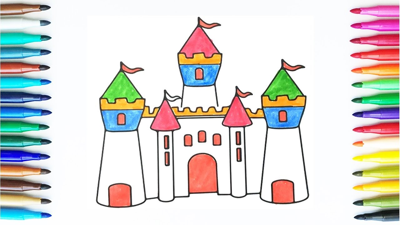 how to draw and color castle drawing and colours for children u0027s