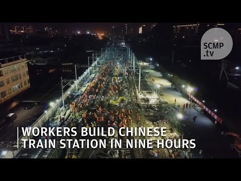1,500 Chinese workers build train station in nine hours