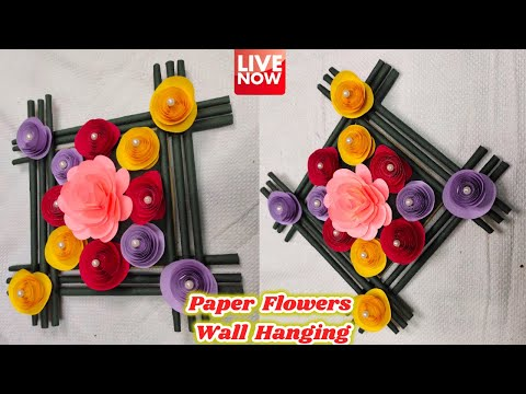 Paper Flowers Wall Hanging Craft | Home Decoration Tutorial Recap | LIVE  [🔴]