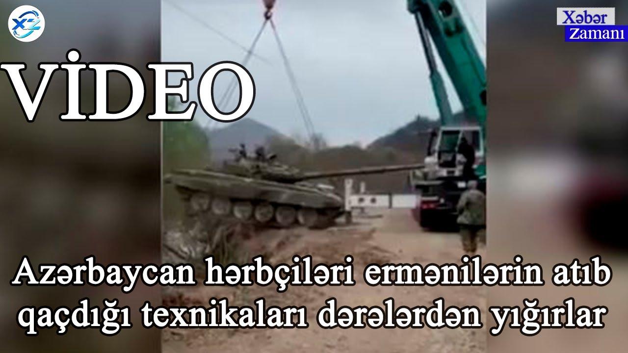Azərbaycan hərbçiləri ermənilərin atıb qaçdığı texnikaları dərələrdən yığırlar - VİDEO