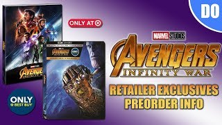 Avengers Infinity War Retailer Exclusives Preorder Info | Best Buy SteelBook & Target Digipack