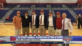 Six Bob Jones baseball players sign Nationals Letter of Intent during early signing period