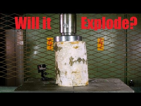 Crushing Log With Hydraulic Press
