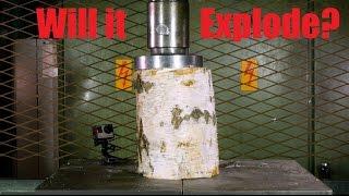 Crushing Log With Hydraulic Press