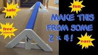 Balance beam for kids (make one from 2x4) Gymnastics!