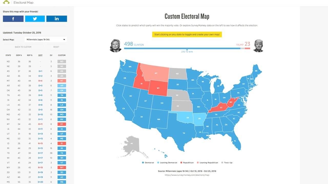 The Millennial Electoral College Map YouTube - Us election millennials map
