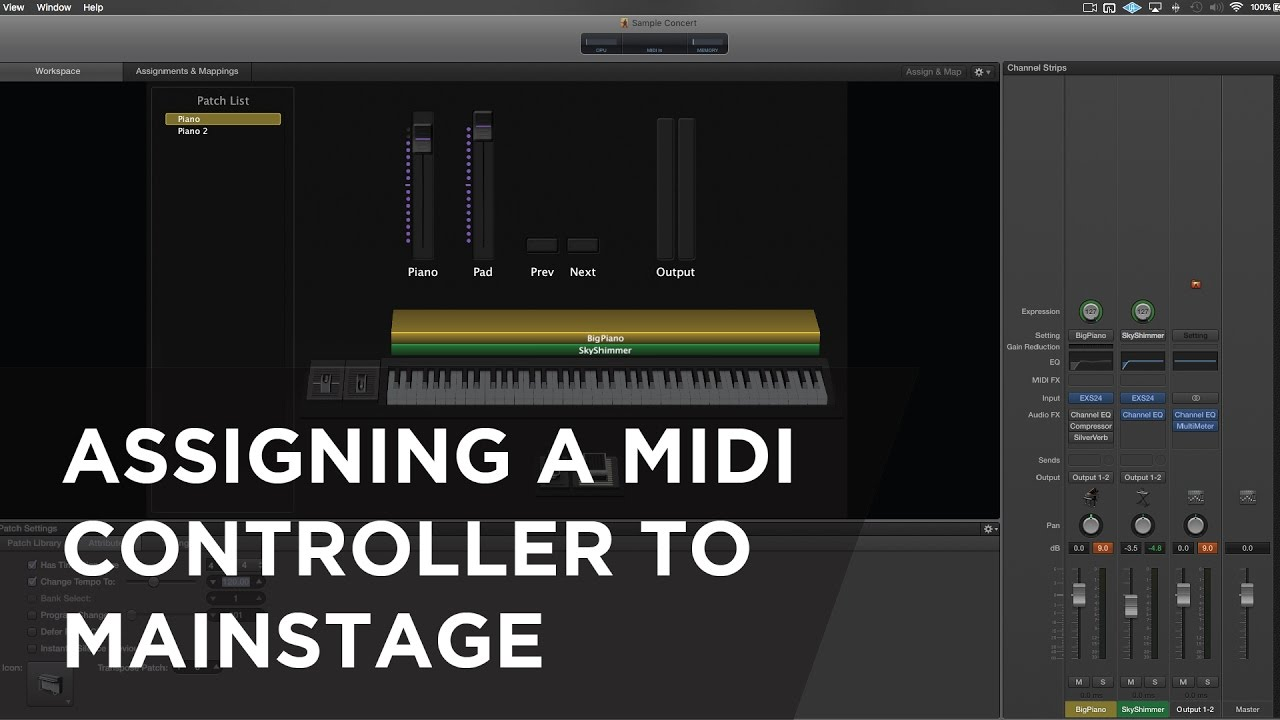 how to assign midi controller to mainstage instruments youtube. Black Bedroom Furniture Sets. Home Design Ideas