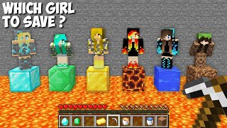 WHICH to SAVE DIAMOND GIRL or EMERALD GIRL or GOLD GIRL or LAVA GIRL or WATER GIRL in Minecraft ?