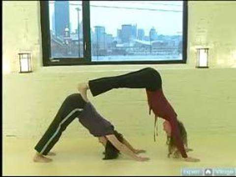 partner yoga positions  double downward dog pose for
