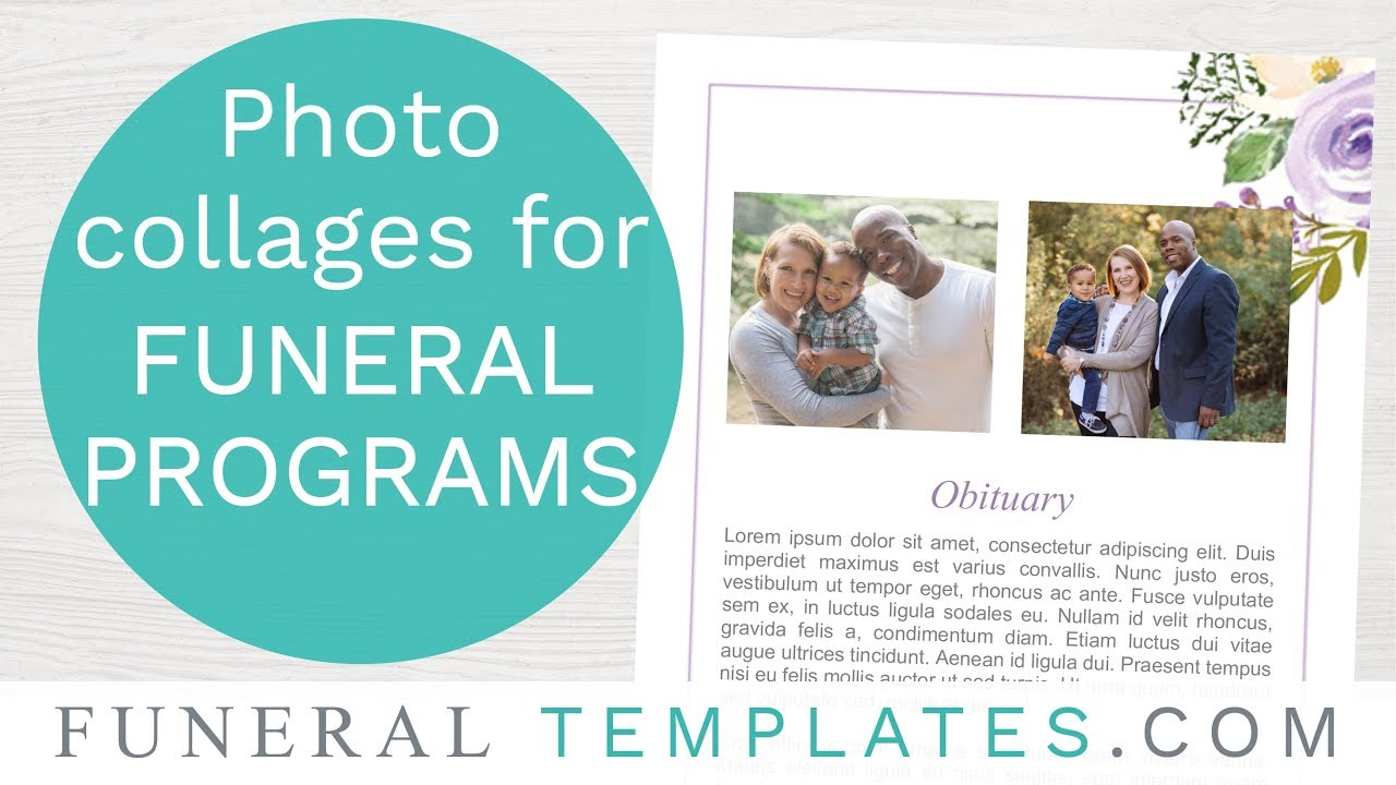 add a photo collage to a funeral program template youtube