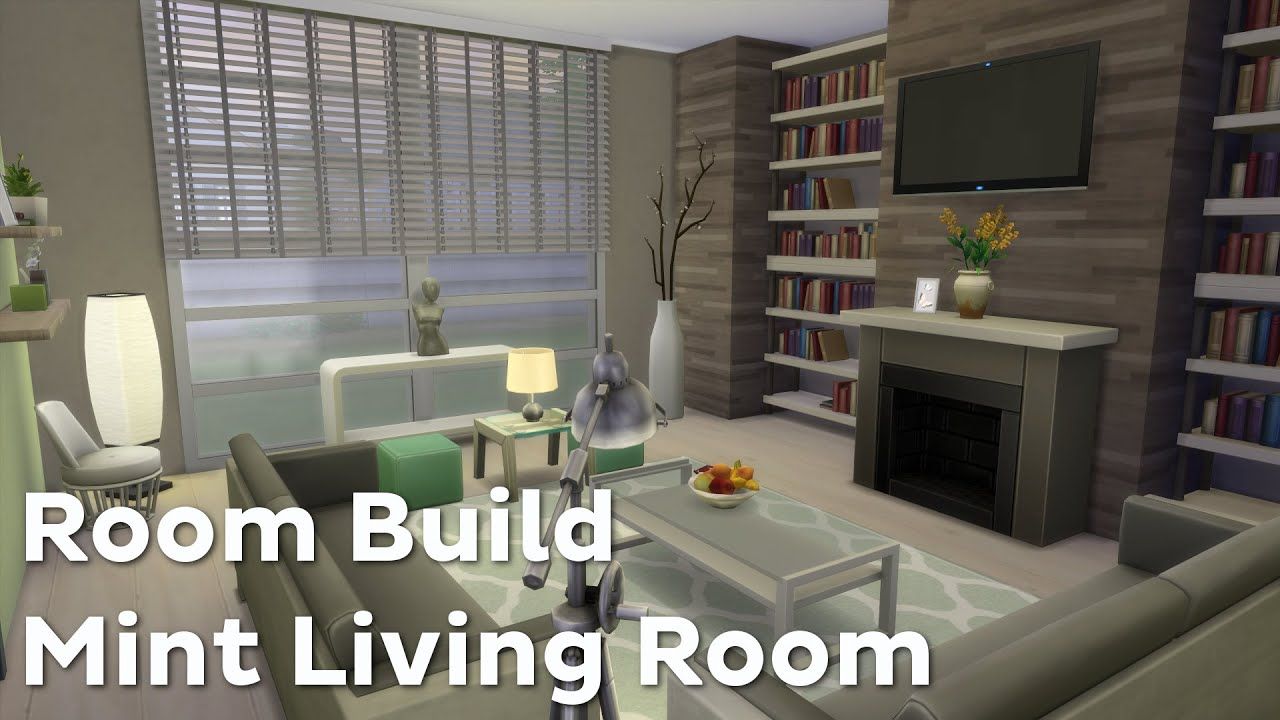 The sims 4 room build mint living room youtube for Sims 4 living room ideas