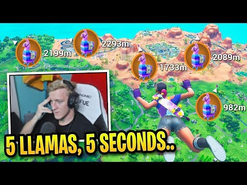 Tfue *SHOCKED* Finding 5 Llamas Before Landing In Fortnite! (LLAMA TRICK)