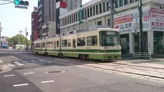 広島電鉄3900形3901号『ぐりーんらいなー』猿猴橋町発車