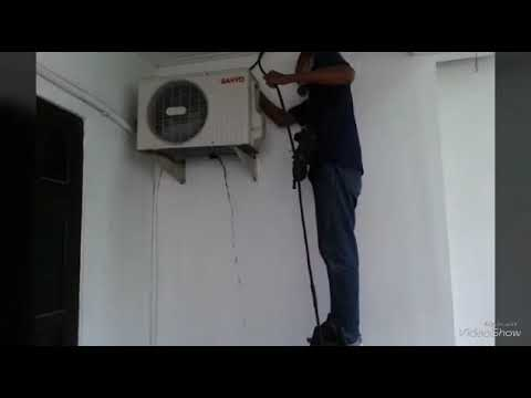 Cleaning Washing outdoor unit Sanyo air conditioner
