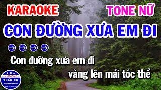 Karaoke Con Đường Xưa Em Đi   Nhạc Sống Rumba Tone Nữ   Karaoke Tuấn Cò