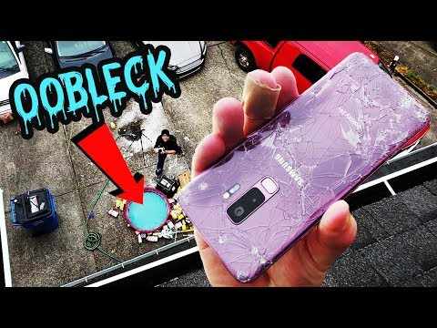 FAIL Galaxy S9+ Oobleck Pool 50 FT Drop Test