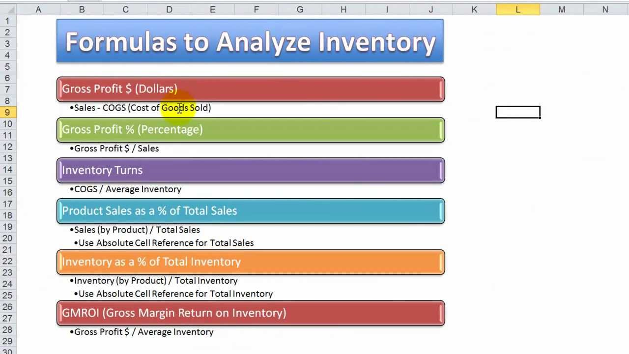 how to use excel functions formulas to analyze inventory for a