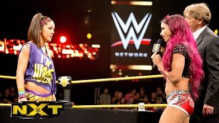 Sasha Banks & Bayley sign the contract for their NXT Women's Title Match: WWE NXT, Aug. 19, 2015
