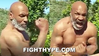 "(WOW!) MIKE TYSON FLEXES RIPPED PHYSIQUE AT 53; DISPLAYS HAND SPEED AND REPEATS ""I MIGHT COME BACK"""