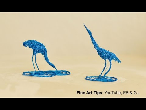 How to Draw a Heron in 3D - Real 3D Doodling - Stork - Sculpture
