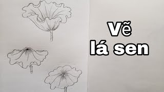 Cách vẽ lá sen bằng bút chì đơn giản #art#vetranhbutchi#pencil